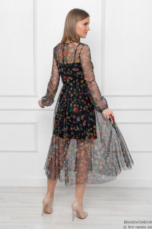 Платье-миди с отделкой из фатина