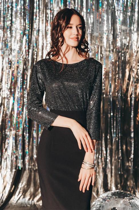 Платье-футляр с блестящим верхом