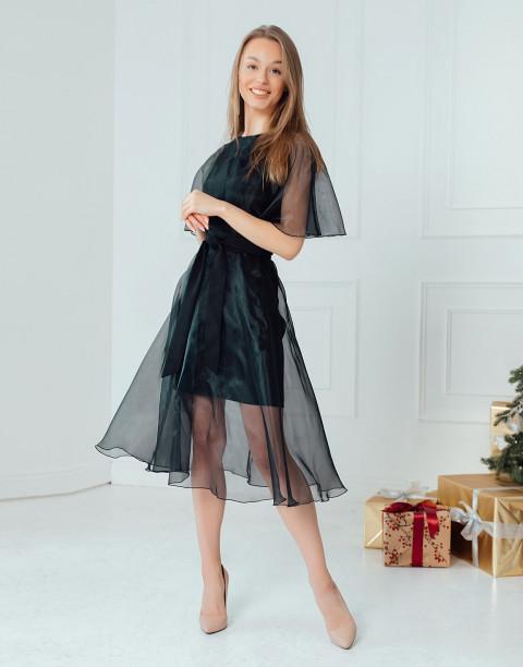 Платье-миди из органзы с поясом