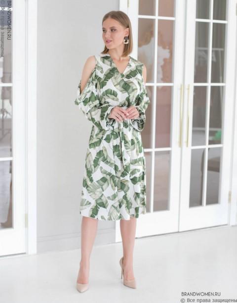 Платье-миди со спущенными рукавами