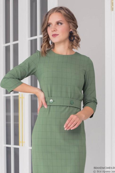 Платье-миди в клетку с поясом