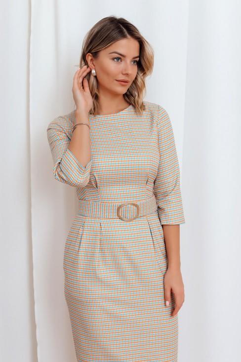 Платье-футляр с рукавом 3/4 и поясом