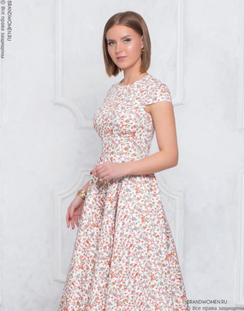 Платье длины миди с юбкой солнце