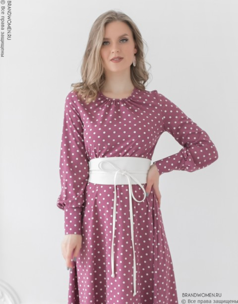Платье-миди с поясом и широкими манжетами