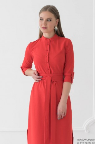 Льняное платье длины макси с разрезами по бокам