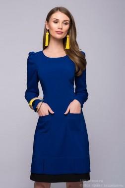 Синее платье с черной отделкой