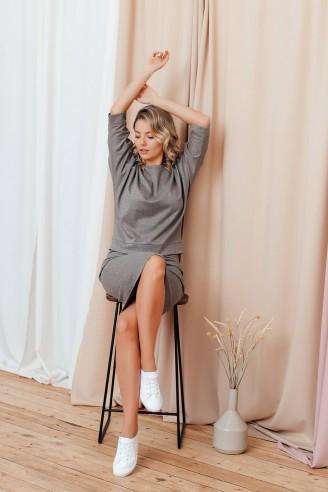 Комплект из юбки и свитшота с рукавом летучая мышь