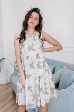 Платье-мини свободного кроя с принтом
