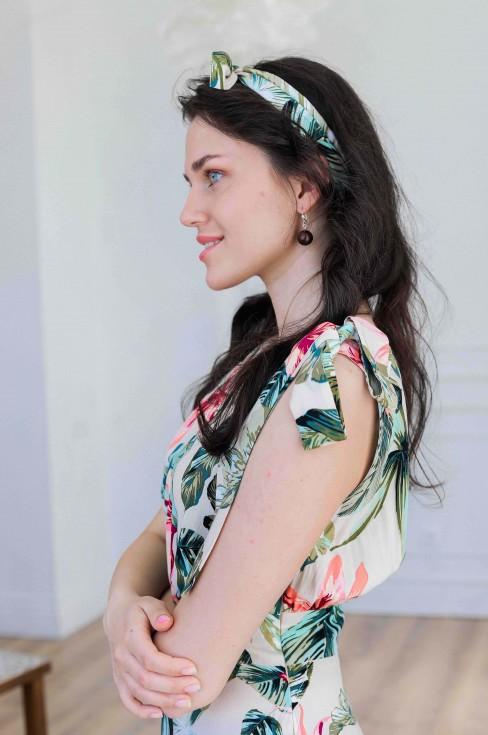 Платье-миди с бантом на плече