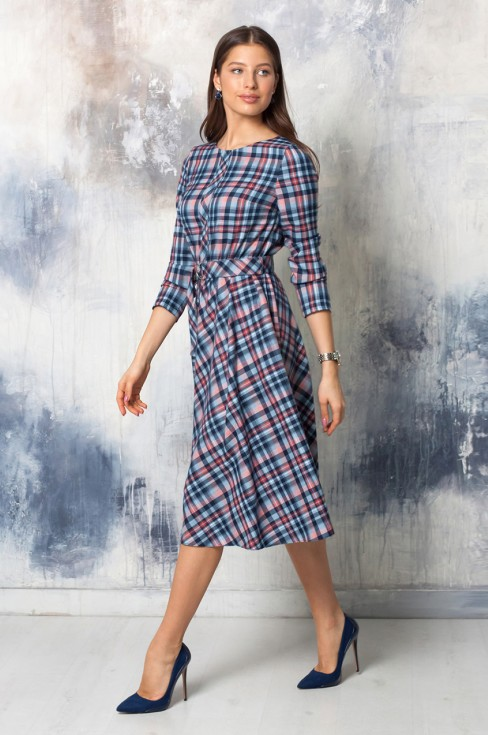 Платье-миди с имитацией планки