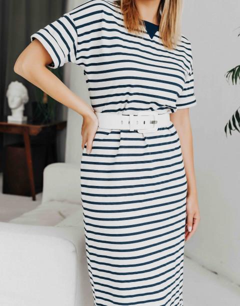 Трикотажное платье-миди в полоску