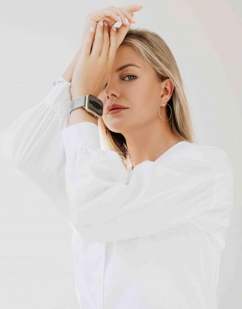 Рубашка с V-образным вырезом на пуговицах