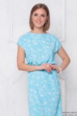 Платье-мини с принтом и резинкой на талии