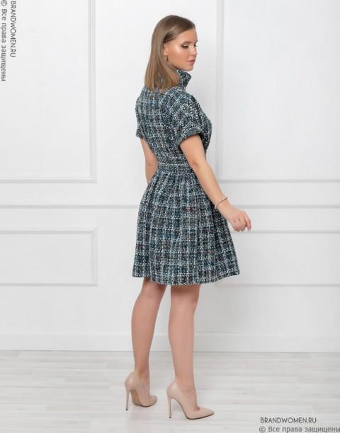 Платье-мини из твида с воротником