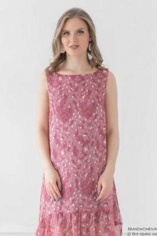 Разноуровневое платье-миди с воланом