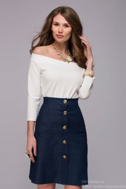 Темно-синяя джинсовая юбка-мини на пуговицах
