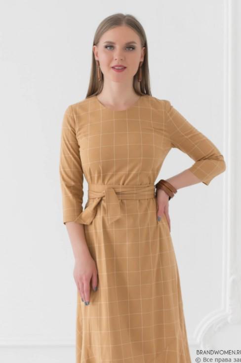Платье-миди с воланом и поясом
