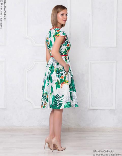 Платье-миди с принтом и контрастной отделкой