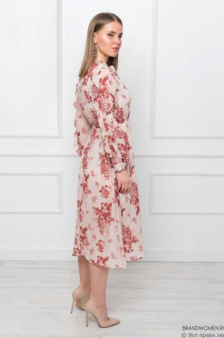 Платье-миди с воланами на рукавах