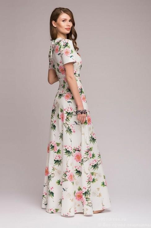 Платье-макси с цветами