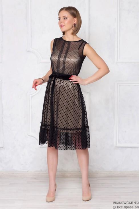 Платье-миди в горошек с бархатной лентой