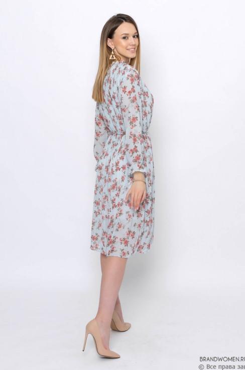 Плиссированное платье с цветочным принтом