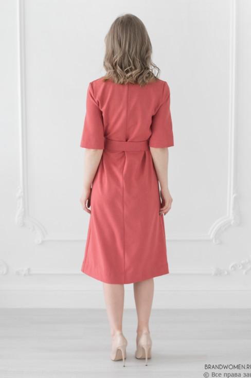 Платье-рубашка длины миди с карманами и поясом