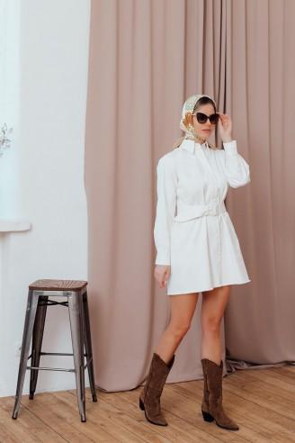 Платье-рубашка длины мини на кнопках с поясом
