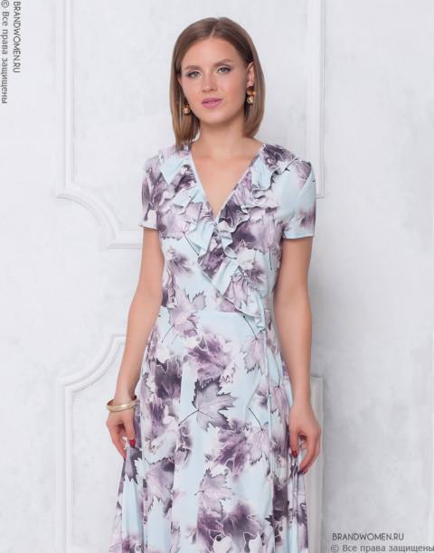 Платье-миди на запах с оборкой