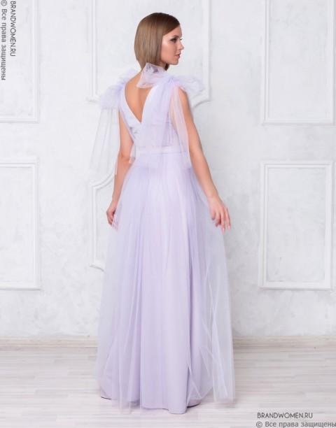 Платье-макси с бантами на плечах