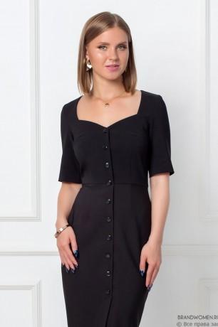 "Платье-футляр с вырезом ""каре"" и коротким рукавом"