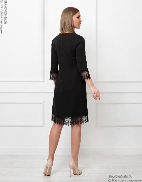 Платье-мини с кружевной отделкой