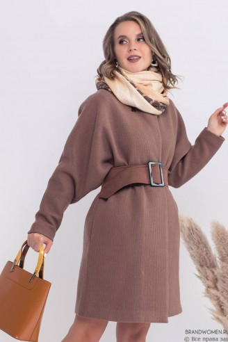 """Пальто с рукавами """"летучая мышь"""" и поясом"""