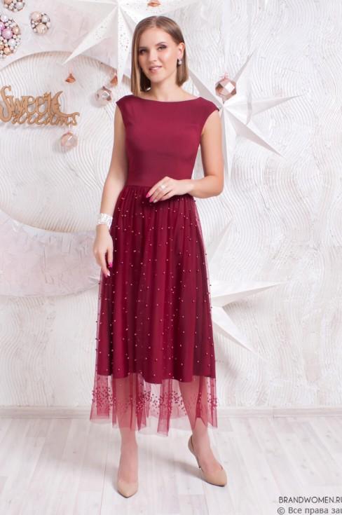 Платье-миди с бусинами