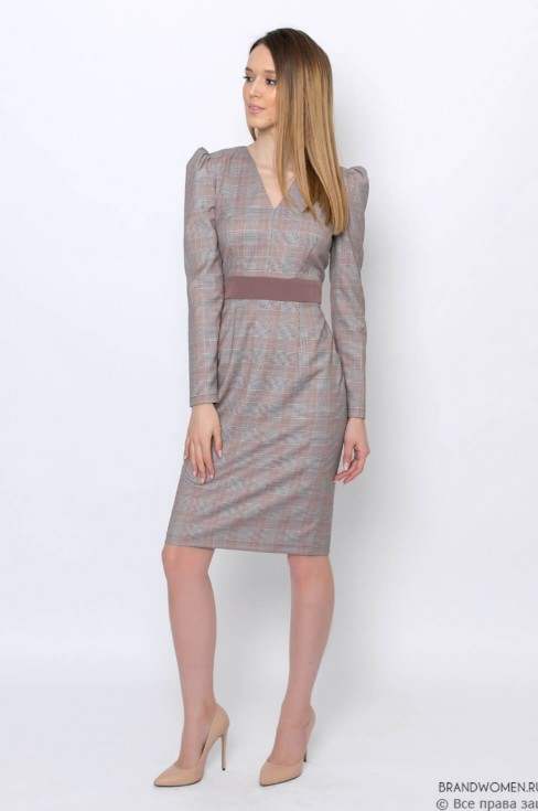 Платье-футляр со втачным поясом