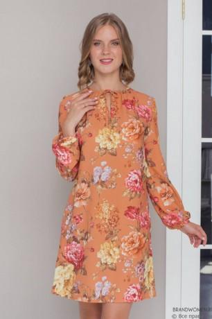 Платье-мини с принтом и бантиком