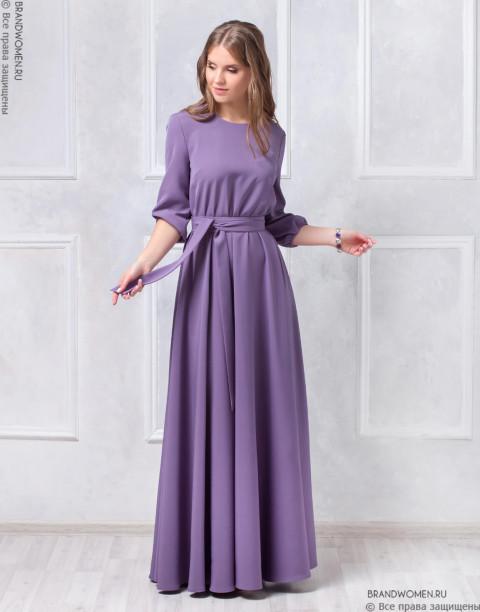 Платье длины макси с поясом и карманами