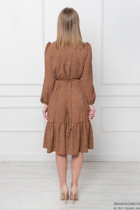 Платье-миди с воланом в горошек