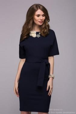 Трикотажное платье с рукавом летучая мышь