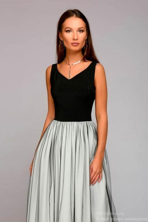 Платье в пол с юбкой из фатина