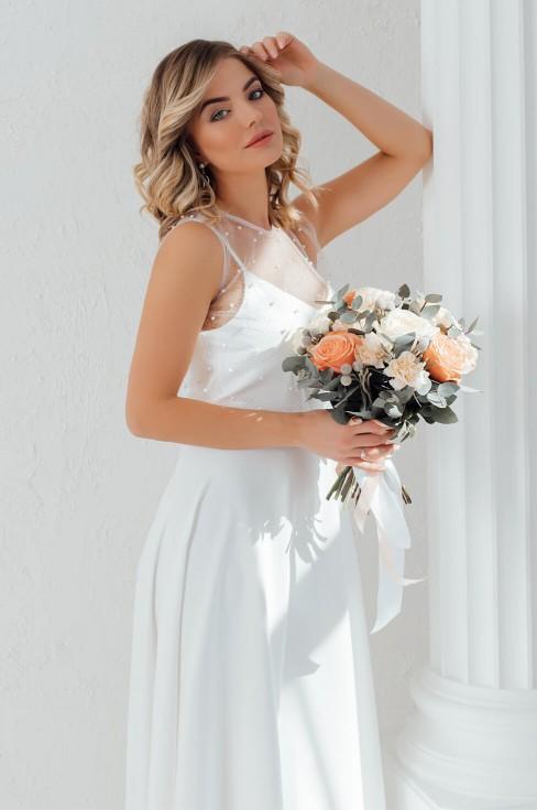 Платье-макси на бретелях с накидкой
