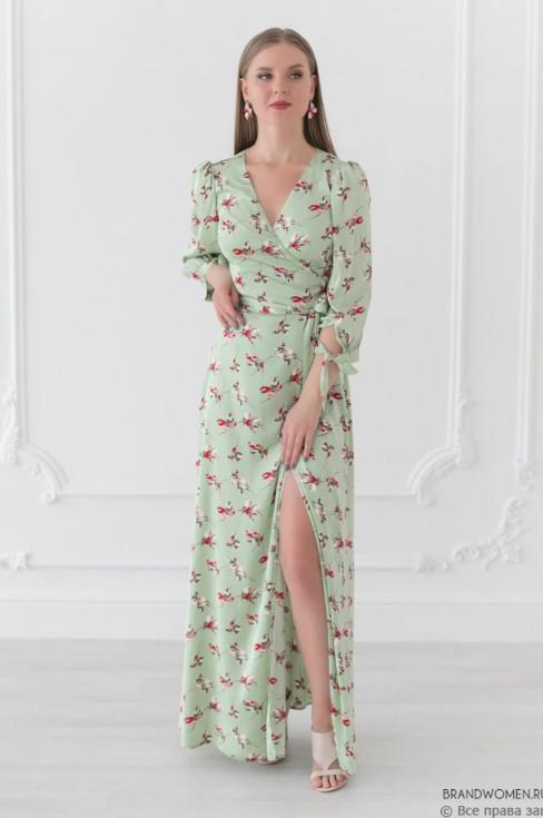 Платье в пол на запах с поясом