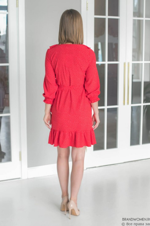 Платье-мини на запах с воланами