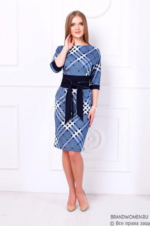 Платье футляр в клетку с широким поясом