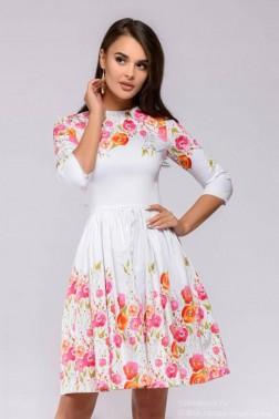 Платье белое длины мини с цветочным принтом