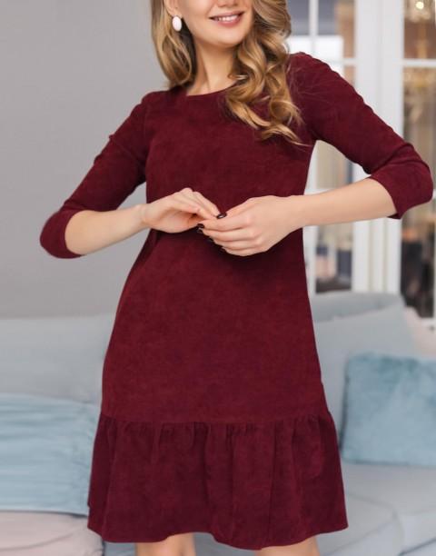 Платье-мини из вельвета с воланом