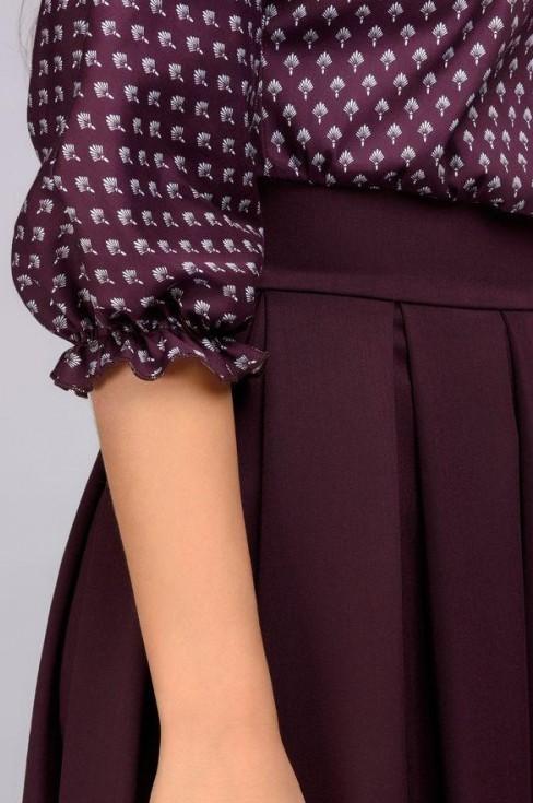 Платье миди с принтованным верхом