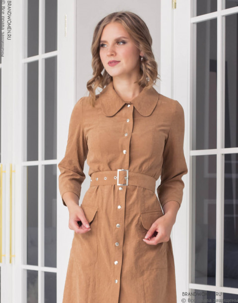 Платье короткое на кнопках с поясом