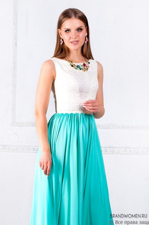 Платье длины макси с кружевным верхом