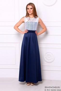 Платье в пол с кружевным верхом